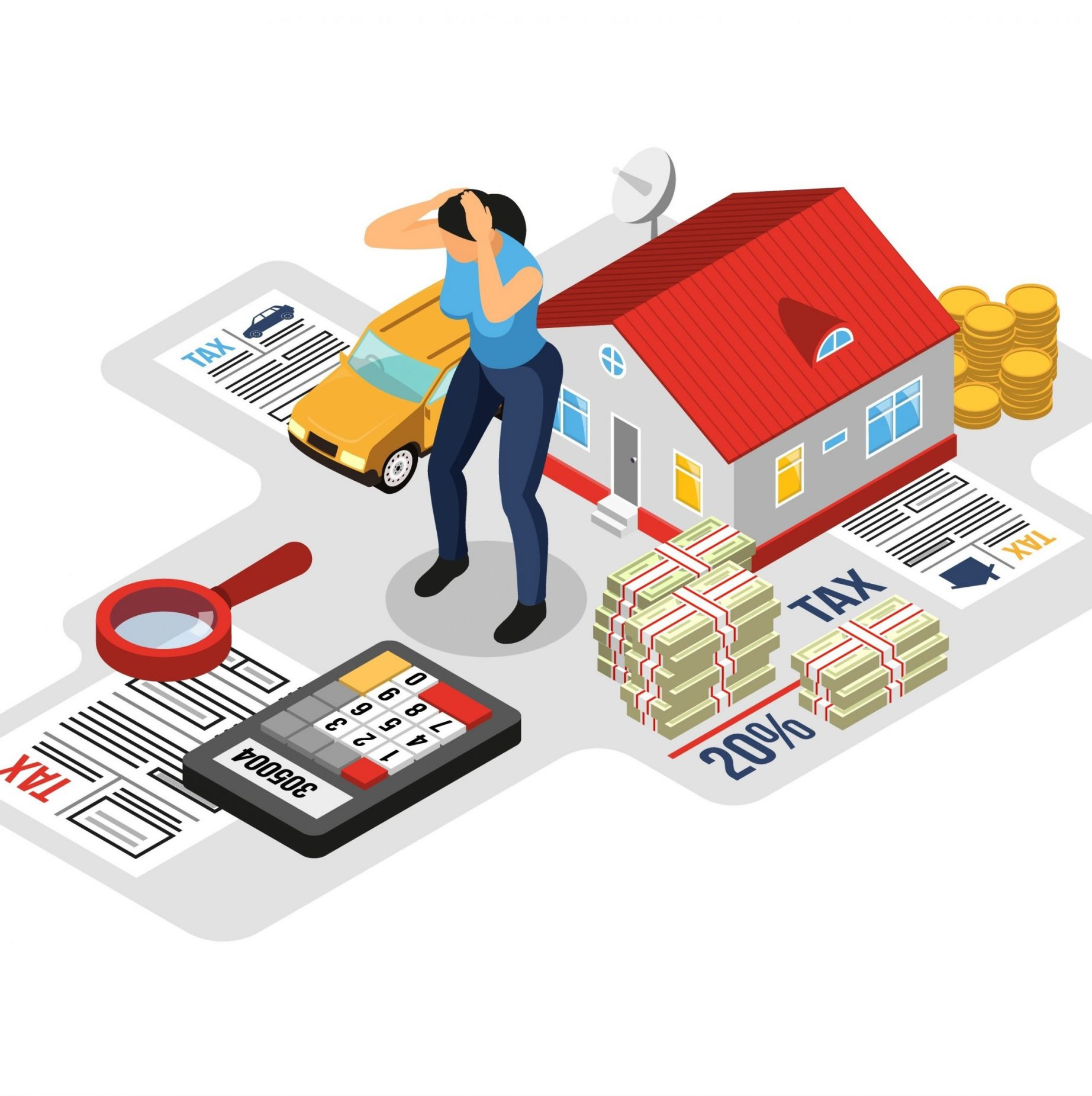Personal tax advice online service concept isometric web page design with homeowner property income declaration vector illustration